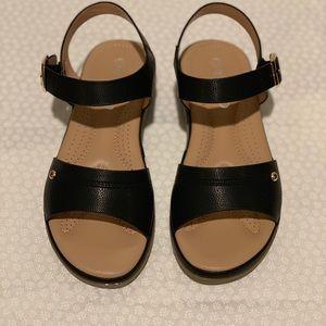 Shoes - Cushion Black Ankle Strap Sandals